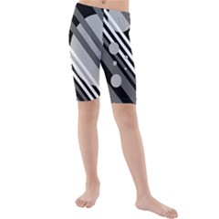 Gray lines and circles Kid s Mid Length Swim Shorts by Valentinaart