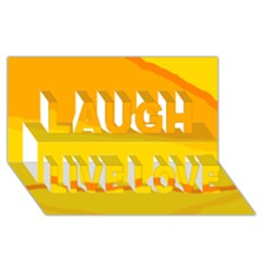 Yellow Decorative Design Laugh Live Love 3d Greeting Card (8x4)  by Valentinaart
