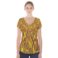Yellow pattern Short Sleeve Front Detail Top by Valentinaart