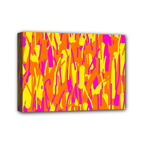 Pink And Yellow Pattern Mini Canvas 7  X 5  by Valentinaart