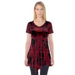 Black and red pattern Short Sleeve Tunic  by Valentinaart