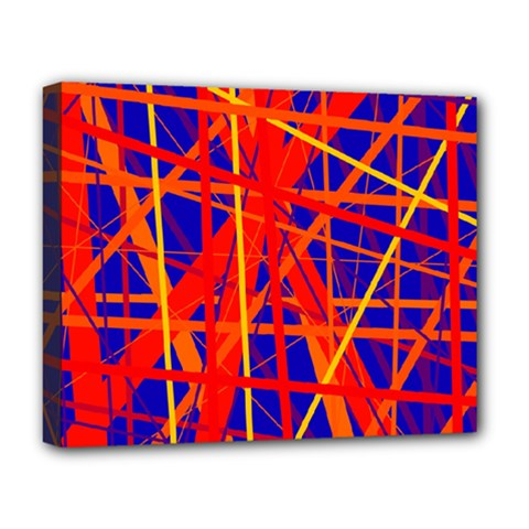 Orange And Blue Pattern Deluxe Canvas 20  X 16   by Valentinaart