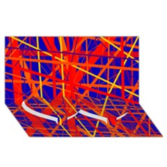 Orange And Blue Pattern Twin Heart Bottom 3d Greeting Card (8x4)  by Valentinaart
