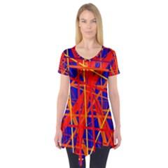 Orange And Blue Pattern Short Sleeve Tunic