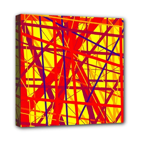 Yellow And Orange Pattern Mini Canvas 8  X 8  by Valentinaart