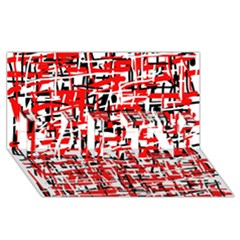 Red, White And Black Pattern Party 3d Greeting Card (8x4)  by Valentinaart