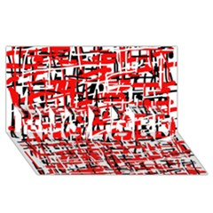 Red, White And Black Pattern Engaged 3d Greeting Card (8x4)  by Valentinaart
