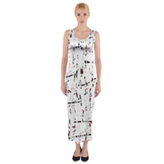 Red, White And Black Pattern Fitted Maxi Dress by Valentinaart