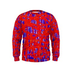 Blue And Red Pattern Kids  Sweatshirt by Valentinaart