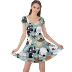Dog Pattern Cap Sleeve Dresses by Mjdaluz