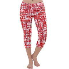 Red decorative pattern Capri Yoga Leggings by Valentinaart