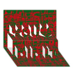 Green And Red Pattern You Did It 3d Greeting Card (7x5)