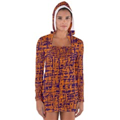 Blue and orange decorative pattern Women s Long Sleeve Hooded T-shirt by Valentinaart