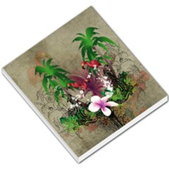 Wonderful Tropical Design With Palm And Flamingo Small Memo Pads by FantasyWorld7