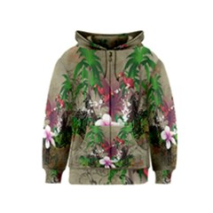 Wonderful Tropical Design With Palm And Flamingo Kids  Zipper Hoodie by FantasyWorld7