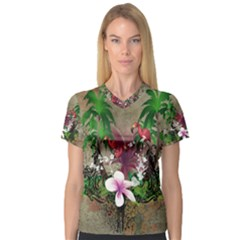 Wonderful Tropical Design With Palm And Flamingo Women s V-Neck Sport Mesh Tee by FantasyWorld7