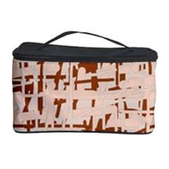 Brown elegant pattern Cosmetic Storage Case by Valentinaart