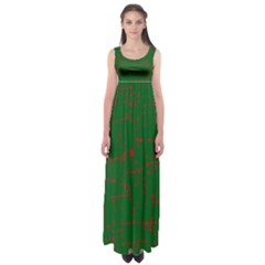 Green And Red Pattern Empire Waist Maxi Dress