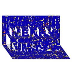 Blue Pattern Merry Xmas 3d Greeting Card (8x4)  by Valentinaart