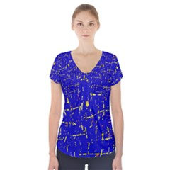 Blue pattern Short Sleeve Front Detail Top by Valentinaart