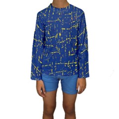 Deep blue and yellow pattern Kid s Long Sleeve Swimwear by Valentinaart