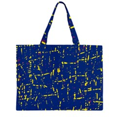 Deep Blue And Yellow Pattern Zipper Large Tote Bag by Valentinaart
