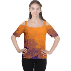 Orange And Blue Artistic Pattern Women s Cutout Shoulder Tee by Valentinaart