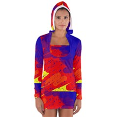 Colorful pattern Women s Long Sleeve Hooded T-shirt by Valentinaart