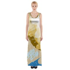 Artistic Pastel Pattern Maxi Thigh Split Dress by Valentinaart