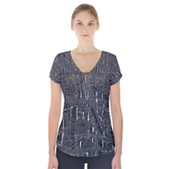 Gray Pattern Short Sleeve Front Detail Top by Valentinaart