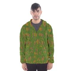 Green Pattern Hooded Wind Breaker (men) by Valentinaart