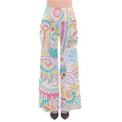 Hippie Flowers Pattern, Pink Blue Green, Zz0101 Pants