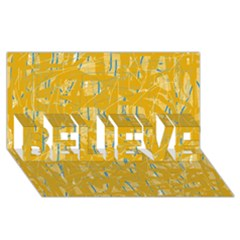 Yellow Pattern Believe 3d Greeting Card (8x4)  by Valentinaart