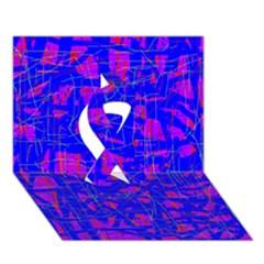 Blue pattern Ribbon 3D Greeting Card (7x5)  by Valentinaart