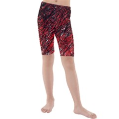 Red and black pattern Kid s Mid Length Swim Shorts by Valentinaart