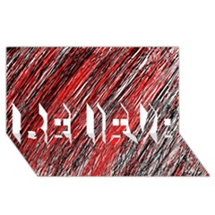 Red And Black Elegant Pattern Believe 3d Greeting Card (8x4)  by Valentinaart