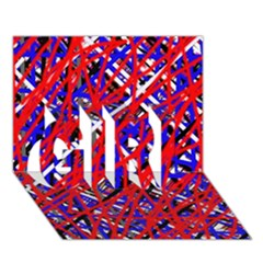 Red And Blue Pattern Girl 3d Greeting Card (7x5)  by Valentinaart