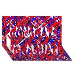 Red And Blue Pattern Congrats Graduate 3d Greeting Card (8x4)  by Valentinaart