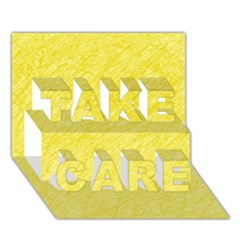 Yellow pattern TAKE CARE 3D Greeting Card (7x5)  by Valentinaart