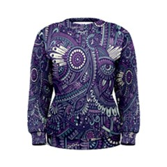 Purple Hippie Flowers Pattern, Zz0102, Women s Sweatshirt by Zandiepants