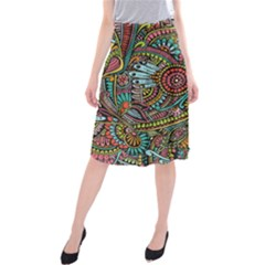 Colorful Hippie Flowers Pattern, Zz0103 Midi Beach Skirt