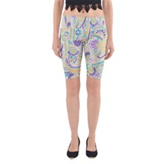 Hippie Flower Pattern Purple Yellow Green Zz0104 Yoga Cropped Leggings by Zandiepants