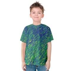Green Pattern Kid s Cotton Tee by Valentinaart