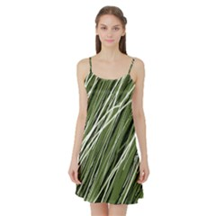 Green decorative pattern Satin Night Slip by Valentinaart