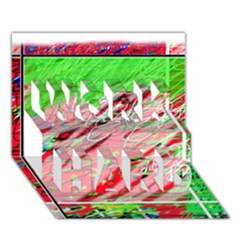 Colorful pattern WORK HARD 3D Greeting Card (7x5)