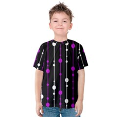 Purple, Black And White Pattern Kid s Cotton Tee