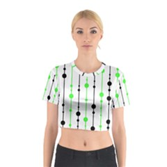 Green pattern Cotton Crop Top by Valentinaart