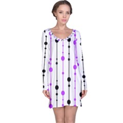 Purple, white and black pattern Long Sleeve Nightdress by Valentinaart