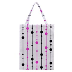 Magenta, Black And White Pattern Classic Tote Bag by Valentinaart