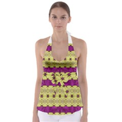 Purple Gold Floral And Paradise Bloom Babydoll Tankini Top